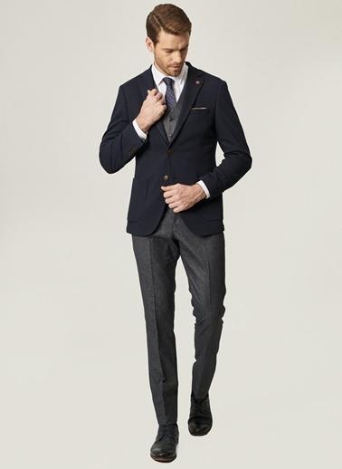 Altınyıldız Classics Slim Fit Kombinli Yelekli Desenli Takım Elbise 4A3421100002 Lacivert